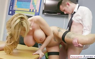 Beautiful blond professor with fat cupcakes, Stacey Saran is getting pounded highly rock-hard in the classroom