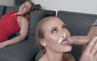 Dude fucks a stunning blonde MILF next to his sleeping wife
