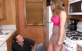 Enormous tited woman is cuckold on her hubby with a naughty neighbour, in the kitchen